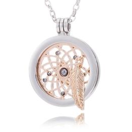 Morella® Damen Halskette 70 cm Edelstahl und Anhänger mit Coin Traumfänger rosegold 33 mm im Schmuckbeutel -