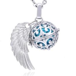 Morella Damen Schutzengel Halskette Edelstahl 70 cm mit Anhänger Engelsflügel und Klangkugel Zirkonia türkis Ø 16 mm in Schmuckbeutel -