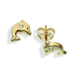 Ohrstecker echt 14 Karat Gold 585 Delphin Delfin & Zirkonia (Art.811056) -