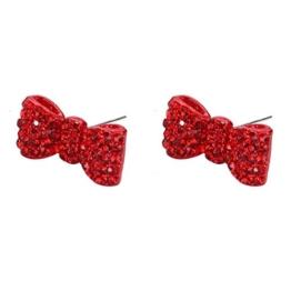 Ohrstecker Ohrring besetzt Schleife (rot) Made mit Zinn Legierung & Kristall Glas von Joe Cool -