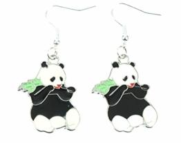 Panda Ohrringe Pandaohrringe Miniblings Pandabär Bambus Bär flach Zoo emailliert -