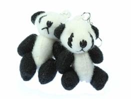 Panda Ohrringe Pandaohrringe Miniblings Pandabär Bambus Zoo Bär 3D Plüsch -