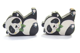 Pandabär Ohrstecker Ohrringe 10mm Holz Panda -