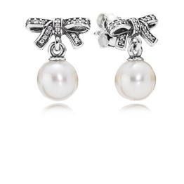Pandora Damen-Ohrhänger 925 Silber Kristall transparent Perle Süßwasser-Zuchtperle Weiß - 290596P -