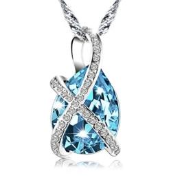 Pealrich Kristall Halskette, Damen Kette mit Swarovski Elements, Tropfen Anhänger, mit Etui Schmuck 18,5'' (Blau) -