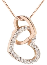 QUADIVA C! Damen Halskette Herzkette Kette mit Anhänger Herz (Farbe: rosegold) verziert mit funkelnden Kristallen von Swarovski® -