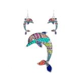 Schmuckset Anhänger und Ohrringe Delphin Mehrfarben - Blue Pearls - NUB 3604 E -
