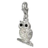 SilberDream Glitzer Charm Eule - Uhu weiß Zirkonia Kristalle Anhänger 925 Silber für Bettelarmbänder Kette Ohrring GSC505W -