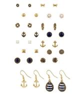 "SIX ""Marine"" 16 Ohrstecker, Damen Ohrringe, earrings in einem Set, maritim, gold, blau, weiß, Anker (459-020) -"