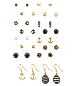 "SIX ""Marine"" 16 Ohrstecker, Damen Ohrringe, earrings in einem Set, maritim, gold, blau, weiß, Anker (459-020) -"