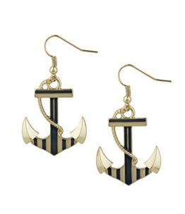 "SIX ""Marine"" goldene Damen Ohrringe Ohrhänger mit großem Anker & Tau, Blau, Weiß maritim (475-387) -"