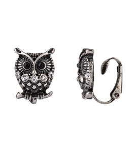 """SIX """"Trend"""" Damen Ohrring, Ohrclip in silber schwarz mit Vogel, Eulen Motiv, Glitzer-Steine, geeignet ohne Ohrlöcher (434-307) -"""
