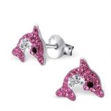 SL-Collection Ohrringe Kinderohrringe Delfin Kristalle in zwei Farben 925 Silber , Farbe:Pink -