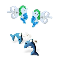 SL-Silver Set Kinderohrringe kleine Meerjungfrau und Delfin 925 Silber in Geschenkbox -