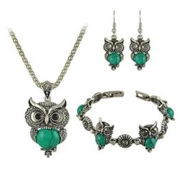 Sunnywill 1SET Eule Frauen Halskette Anhänger Tropfen Ohrringe Armband Schmuck (Grün) -