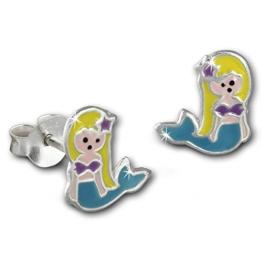 Teenie-Weenie Kinder Ohrring Kleine Meerjungfrau hellblau, gelb, lila Ohrstecker 925er Silber Kinderschmuck TW SDO8145H -