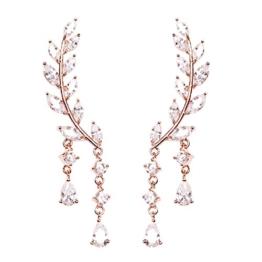 Umschlingende Ohrstecker im Set, in Weinreben Form mit Kristallrosen und goldenen Blättern für Damen -