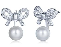 Unendlich U Fashion Damen Ohrring Jackets 925 Sterling Silber Zirkonia 6mm Perlen Schmetterling-Knoten Schleife Ohrringe Ohrstecker Ohrhänger, verschiedene Tragevarianten -