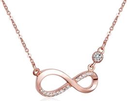 Unendlich U Fashion Unendlichkeit Zeichen Damen Halskette 925 Sterling Silber Zirkonia Anhänger Kette mit Anhänger, Rosegold -