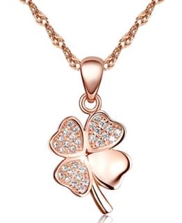 Unendlich U Klassisch Vierblaettriges Kleeblatt Damen Halskette 925 Sterling Silber Zirkonia Anhänger Kettenhänger, Rosegold -