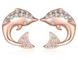 Unendlich U Niedlich Delfin Delphin Damen Ohrstecker 925 Sterling Silber Zirkonia Stecker Ohrringe Ohrschuck, Rosegold -