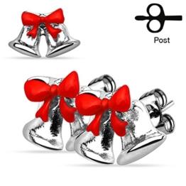 Weihnachts Ohrstecker Ohrringe Weihnachten Glocke Schleife Jingle Bell Christmas silber -