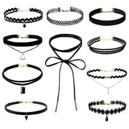Wenseny 10 Stück Damen Hoker Halskette Velvet Spitze Choker Halsketten Tattoo Punk Gothic Halsband, Schwarz Schwarz -