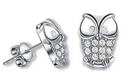 Wiftly Ohrringe Damen Maedchen 925 Sterling Silber Edel Eule mit Zirkon Ohtstecker Niedlich Tier -