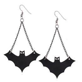 XY Fancy Gothic Halloween Fledermaus Ohrhänger Damen Ohrringe Schwarz -