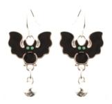 Zest Fledermaus-Ohrringe, für Halloween, mit Silber-Glocken, für gepiercte Ohren, Schwarz -