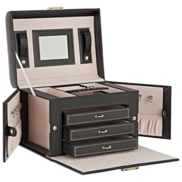 DAILYDREAM® Exklusives Schmuckkästchen Schmuckkasten in schwarz mit 3 Schubladen und weiteren Extras -