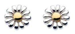 Dew Damen-Ohrringe Sterling Silber Stud mit vergoldet Daisy Detail 48144GD004 -