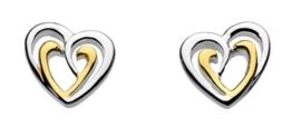 Dew Ohrstecker Doppelherz, Sterlingsilber und mit Roségold vergoldet -