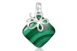 EYS Damen-Anhänger Schmetterling Malachit eckig 18 mm 925 Sterling Silber grün im Etui Edelstein -
