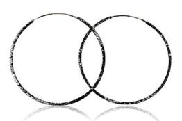 EYS Damen-Creolen 925 Sterling Silber 45 mm schwarz emailliert im Etui -
