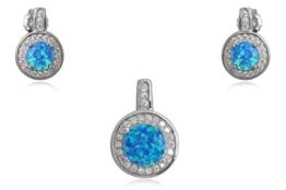 EYS Damen-Schmuckset synthetischer Opal Zirkonia 18 x 12 mm 925 Sterling Silber blau im Etui Ohrringe Anhänger -