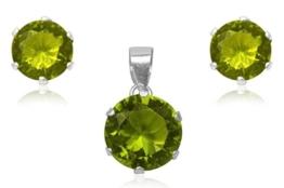 EYS Damen-Schmuckset Zirkonia rund 925 Sterling Silber peridot-grün im Etui - Ohrstecker 6 mm und Anhänger 10 mm -