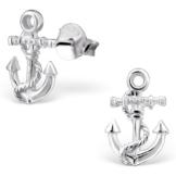 EYS JEWELRY® Damen-Ohrringe Anker 12 x 8 mm blank 925 Sterling Silber silber im Etui Damenohrstecker -