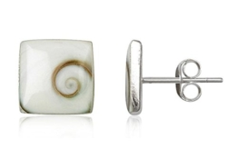 EYS JEWELRY® Damen-Ohrringe Eckig 8 x 8 mm Shiva Auge Muschel 925 Sterling Silber weiß im Etui Damenohrstecker -