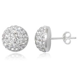 EYS JEWELRY® Damen-Ohrringe Halbkugeln 10 x 10 mm Preciosa Elements Glitzer Kristalle 925 Sterling Silber weiß im Etui Damenohrstecker -