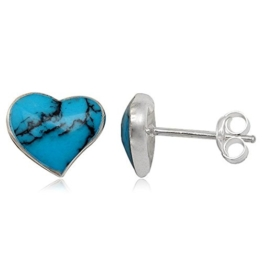 e523c9ab04b3 EYS JEWELRY® Damen-Ohrringe Herz Liebe 9 x 10 mm Türkis 925 Sterling Silber  grün-blau türkis im Etui Damenohrstecker