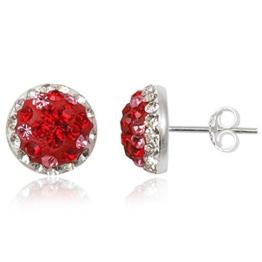 EYS JEWELRY® Damen-Ohrringe Kreis rund 10 x 10 mm Preciosa Elements Glitzer Kristalle 925 Sterling Silber rot weiß im Etui Damenohrstecker -