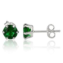 EYS JEWELRY® Damen-Ohrringe Kreis rund 4 x 4 mm Zirkonia 925 Sterling Silber smaragd-grün im Etui Damenohrstecker -