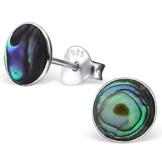 EYS JEWELRY® Damen-Ohrringe Kreis rund 6 x 6 mm Abalone Paua Muschel 925 Sterling Silber grün-blau türkis im Etui Damenohrstecker -