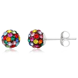 EYS JEWELRY® Damen-Ohrringe Kugeln Bälle Perlen 6 x 6 mm Preciosa Elements Glitzer Kristalle 925 Sterling Silber mehrfarbig bunt im Etui Damenohrstecker -