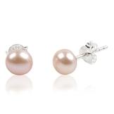 EYS JEWELRY® Damen-Ohrringe Kugeln Bälle Perlen 8 x 8 mm Perlen Süßwasser-Zuchtperlen 925 Sterling Silber pfirsich im Etui Damenohrstecker -