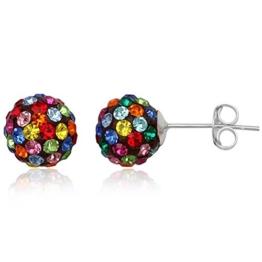 EYS JEWELRY® Damen-Ohrringe Kugeln Bälle Perlen 8 x 8 mm Preciosa Elements Glitzer Kristalle 925 Sterling Silber mehrfarbig bunt im Etui Damenohrstecker -