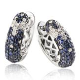 Goldmaid Damen-Creolen Sternenhimmel 585 Weißgold 36 Diamanten 0,18 ct. 104 blaue Saphire -