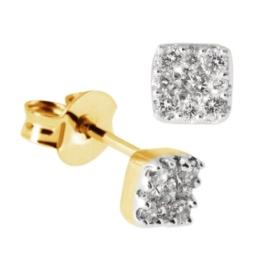 Goldmaid Damen-Ohrstecker 18 Karat 750 Gelbgold Glamourfassung 18 Brillanten 0,25 ct. Pa O3630GG750 -