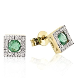 Goldmaid Damen-Ohrstecker 375 Gelbgold 40 Diamanten 2 grüne Smaragde -